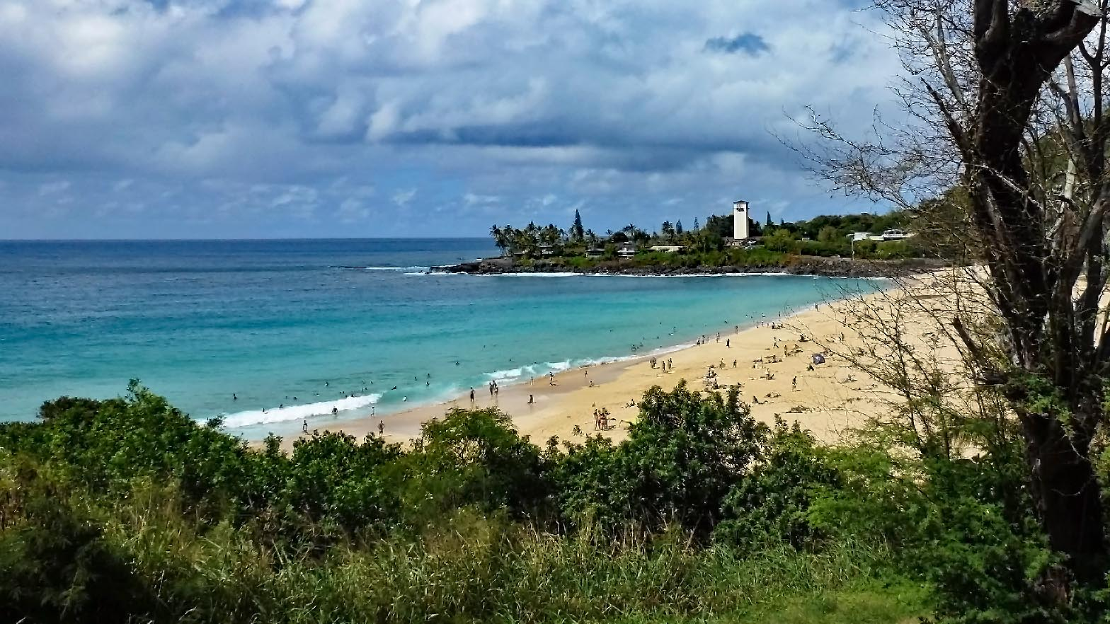 Waimea Bay in the summer, another one of the things to see driving on Oahu.